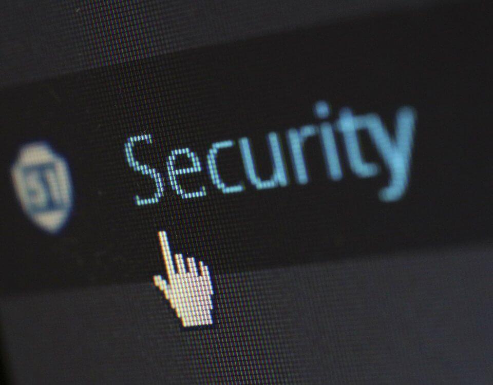 Das Wort Security auf schwarzem Hintergrund